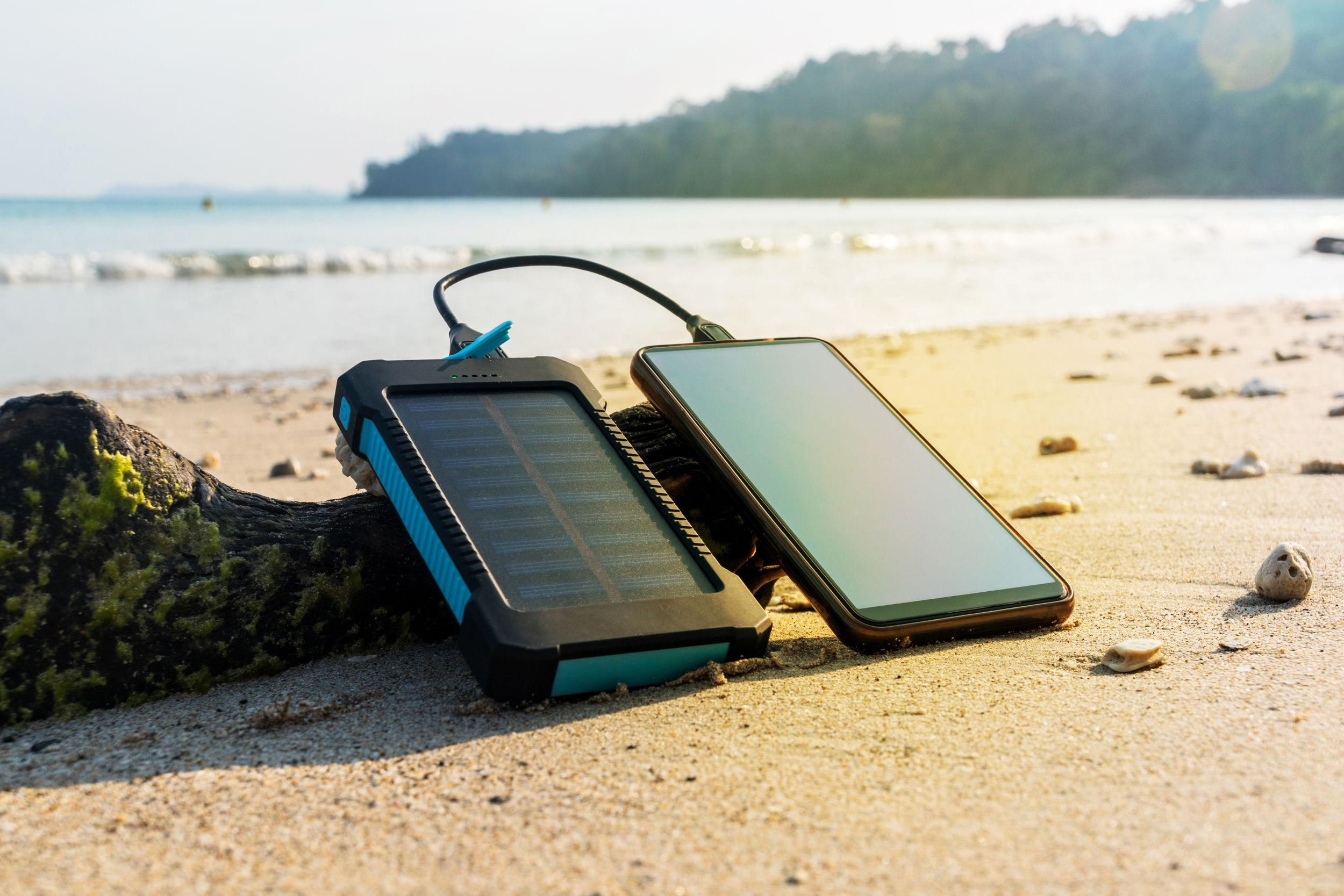 Canva - Portable solar panel is on the beach